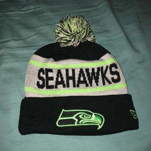 Seattle Seahawks NFL new era custom Pom beanie